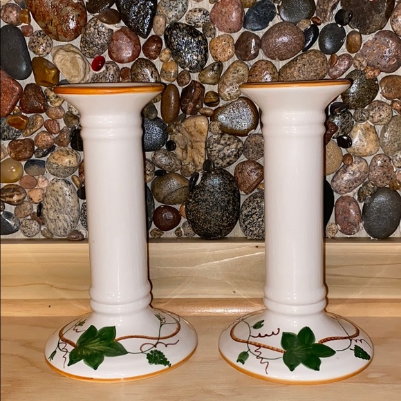 "Vintage Other - 8"" Pair of Hand Painted Candlesticks Portugal"